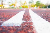 pic of track field  - Running track (Running track rubber with line )
