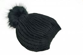 picture of pom poms  - Black Knitted Wool Winter Ski Hat with Pom Pom Isolated On White Background - JPG