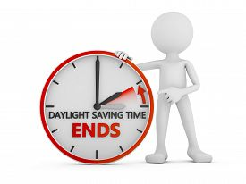 picture of time-saving  - man points to the time change to daylight saving time on white background - JPG
