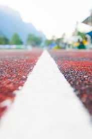 stock photo of track field  - Running track (Running track rubber with line ) ** Note: Shallow depth of field - JPG