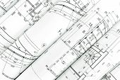 picture of architecture  - rolls of architecture blueprints and technical drawings architectural background - JPG