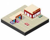 stock photo of gasoline station  - Isometric gas station with cars gasoline pump nozzles and markings on the road - JPG