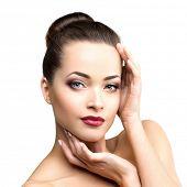 ������, ������: Beautiful model woman in beauty salon makeup Young modern girl in luxurious spa Lady make up Mascara
