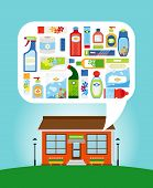 stock photo of household  - Shop with collection of different household chemicals and cleaning supplies - JPG