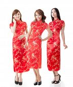 foto of traditional dress  - Group of Chinese women dress traditional cheongsam at New Year - JPG