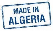 image of algeria  - made in Algeria blue square isolated stamp - JPG