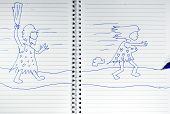 picture of chase  - drawing of ancient man chasing woman on the book - JPG