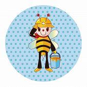 image of bee cartoon  - Bee Cartoon Theme Elements - JPG