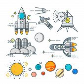 stock photo of spaceships  - Space line art icon set - JPG