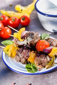 stock photo of meatball  - grilled meatballs with vegetables - JPG