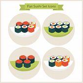 stock photo of sushi  - Flat Sushi Circle Icons Set - JPG