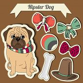 stock photo of toy dogs  - Vector hipster pug dog with a dog with a set of toys - JPG