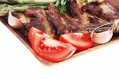 picture of white asparagus  - hot lunch of fresh beef meat roasted ribs with asparagus and tomatoes isolated over white background - JPG