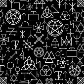 pic of philosophy  - Mystical seamless pattern on black background - JPG
