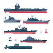 Постер, плакат: Militaristic ships icons