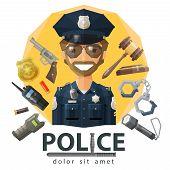 foto of policeman  - funny policeman in uniform - JPG