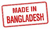 image of bangladesh  - made in Bangladesh red square isolated stamp - JPG