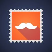 image of moustache  - Illustration of an orange mail stamp icon with a moustache - JPG