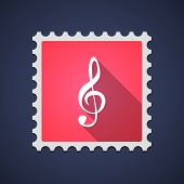 image of clefs  - Illustration of a red mail stamp icon with a g clef - JPG