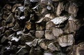 picture of rough-water  - Wall made of rough rocks covered with water - JPG