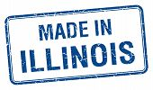 pic of illinois  - made in Illinois blue square isolated stamp - JPG