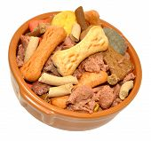 image of ceramic bowl  - Ceramic dog bowl filled with dog meat and crunchy biscuit mix isolated on a white background - JPG