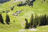 pic of bavaria  - Landscape with alpine huts on mountain Jaegerkamp in the Alps in Bavaria Germany - JPG