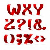 pic of punctuation  - Set of isolated red color shiny ribbon font W - JPG