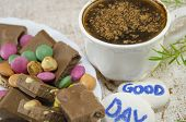 stock photo of bonbon  - Chocolate coffee with bonbons and a  - JPG