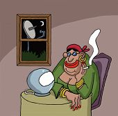 picture of fortune-teller  - Cartoon about a fortune teller looking at her ball - JPG