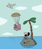 pic of starving  - Funny cartoon about desert island and seafood cooking - JPG