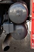 foto of truck-stop  - gray steel containers for compressed air truck - JPG