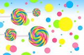 stock photo of lolli  - Fantasy sweet candy land with lollies on white background - JPG