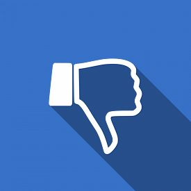 picture of dislike  - dislike modern flat icon with long shadow thumb down sign  - JPG