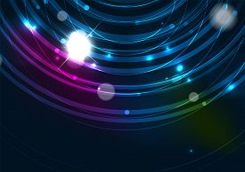 foto of star shape  - Abstract color glowing lines in dark space with stars and light effects - JPG