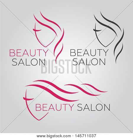 poster of Beautiful woman vector logo template for hair salon beauty salon cosmetic procedures