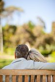 stock photo of sitting a bench  - Happy retired couple sitting on the bench - JPG
