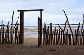 stock photo of driftwood fence  - a rustic fence and gateway on the beach at arugam bay sri lanka - JPG