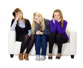 Young Girls Are Sad Sitting On Couch