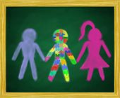 image of autism  - An illustration of schoolkids in support of a special needs child with autism - JPG