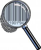 image of dna fingerprinting  - A magnifying glass has zoomed in on a fingerprint to reveal a barcode - JPG