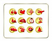 Travel Icon Set: Golden-Red poster
