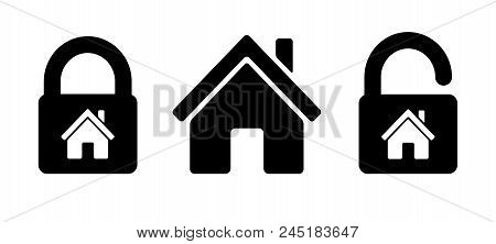 Lock House Icon Residential House