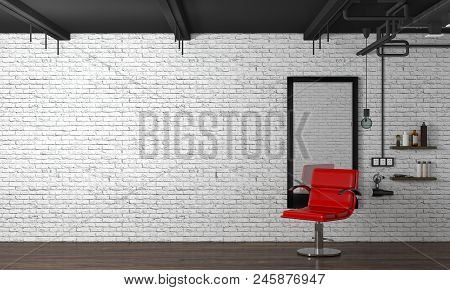 poster of Hair Salon Interior Modern Style 3d Illustration Beauty Salon Red Chair,white Brick Wall
