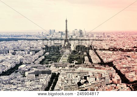 poster of Panorama Eiffel Tower In Paris In The Colors Of The French National Flag. Vintage View. Tour Eiffel