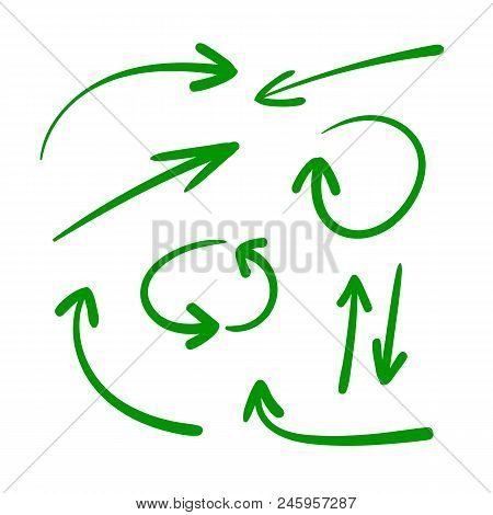 poster of Vector Set Of Hand Drawn Arrows, Green  Arrows  Isolated  On  White Background, Directional Signs.