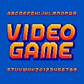 Retro Computer Game Alphabet Font. Pixel Gradient Oblique Letters And Numbers. 80s Arcade Video Game poster