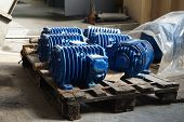 Electro Motors Blue In Stock. Warehouse For New Engines poster