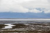 Low Water Level February Landscape At Lake Kerkini, Greece With Low Clouds And A Mountain Range In T poster