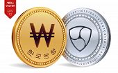Nem. Won. 3d Isometric Physical Coins. Digital Currency. Korea Won Coin. Cryptocurrency. Golden And  poster